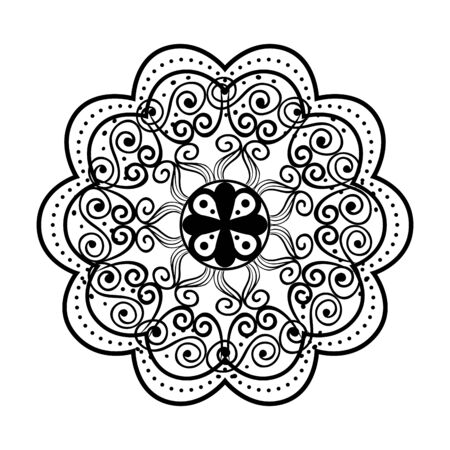 mandala monocromatica in stile vittoriano disegno vettoriale illustartion