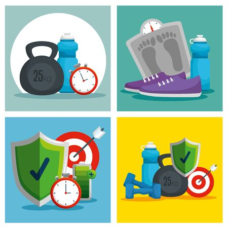 set water bottle with dumbbells and weighing machine vector illustration