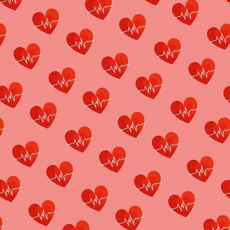 hearts cardio pattern background vector illustration design