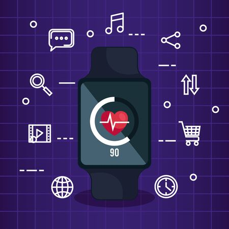 smartwatch technology with heartbeat and media app vector illustration Çizim