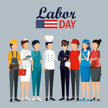 labor day celebration with professional workers vector illustration Illustration