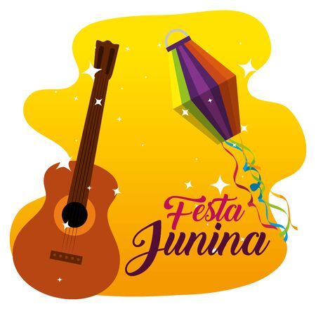 guitar and lanterns decoration to festa junina vector illustration Иллюстрация