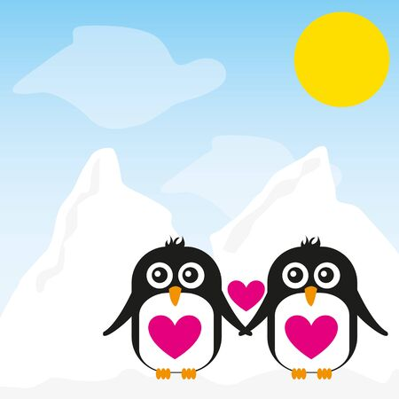 penguin cartoon over snow landscape background. vector 版權商用圖片 - 124885102