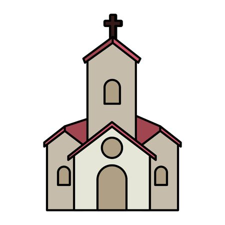 postcard with church facade building vector illustration design Stock Illustratie