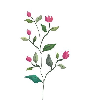 branch with leafs plant and flowers vector illustration design Çizim