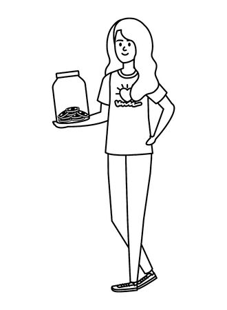 young woman volunteer with donations coins in jar vector illustration design