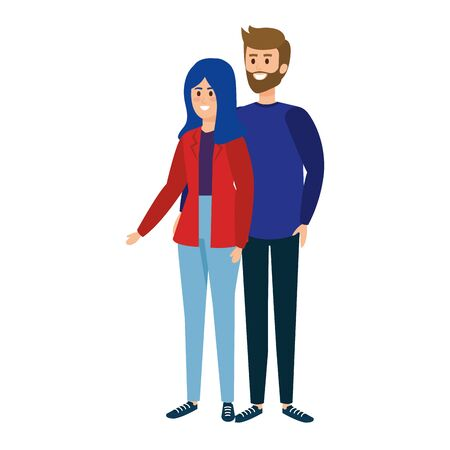 young couple avatars characters vector illustration design Stock Illustratie