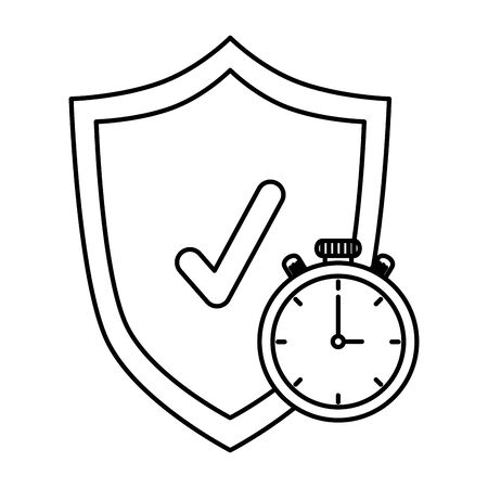 shield with check symbol and chronometer vector illustration design