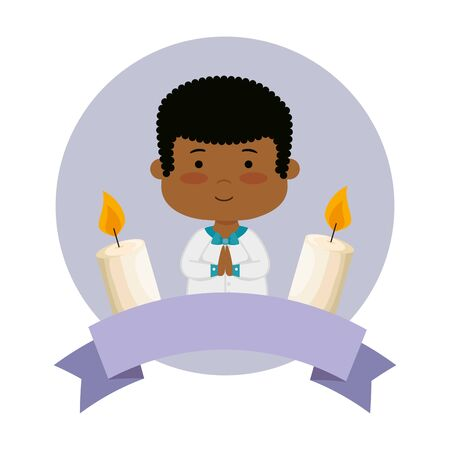 little black boy with ribbon and candles first communion vector illustration design Banque d'images - 124887334