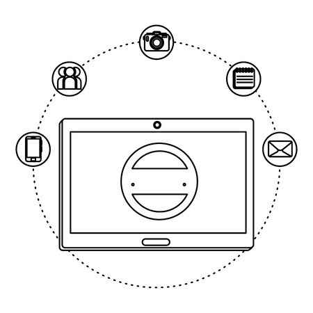 tablet device electronic with ecommerce icons vector illustration design Çizim