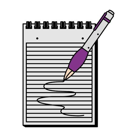 paper notepad with pen writing vector illustration design Stock Illustratie