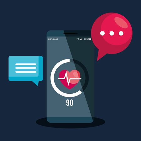 smartphone technology with heartbeat app and chat bubbles vector illustration