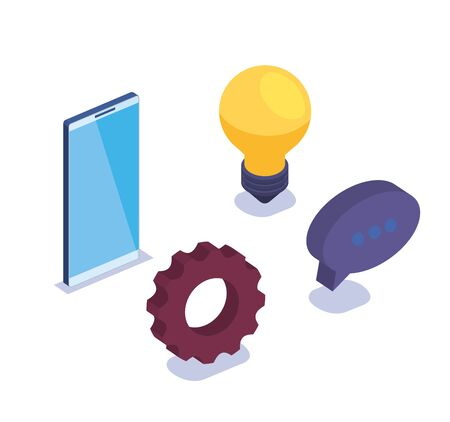 set of smartphone technology with gear and chat bubble with bulb vector illustration 일러스트