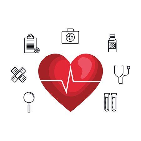 heart cardio with medical icons vector illustration design Иллюстрация