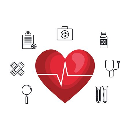 heart cardio with medical icons vector illustration design Illustration