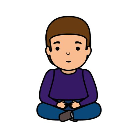 young man seated avatar character vector illustration design Foto de archivo - 124887688