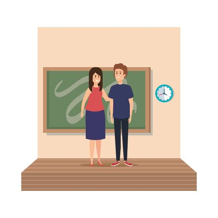 young teachers couple with chalkboard in classroom scene vector illustration design Stock Vector - 124789822