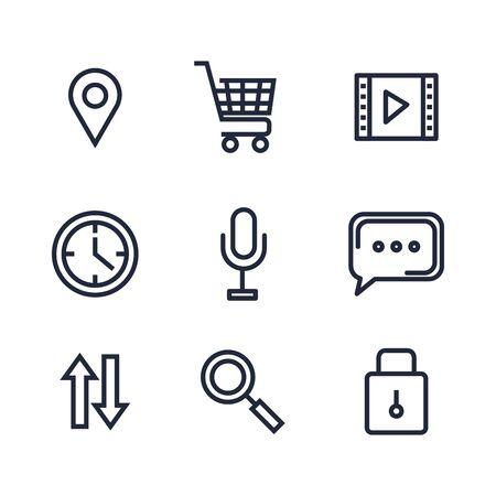 set of digital social app data technology vector illustration