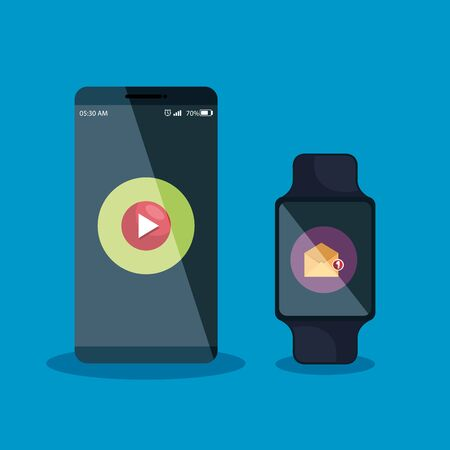 smartphone and smartwatch technology with letter and video app vector illustration