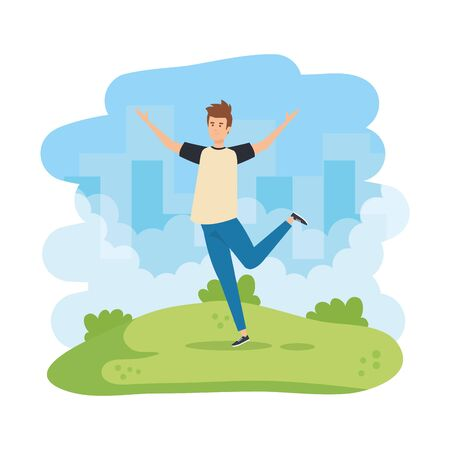 young man celebrating in the park vector illustration design