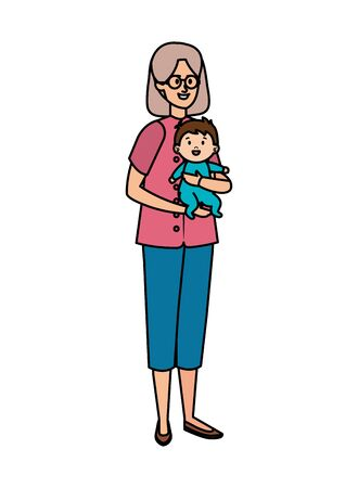 cute grandmother with baby vector illustration design 일러스트