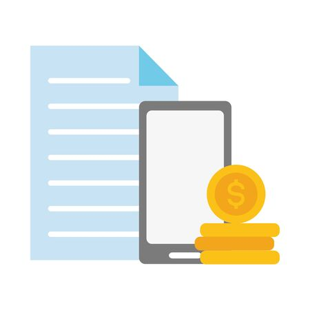 smartphone coin stack report online payment vector illustration Illustration
