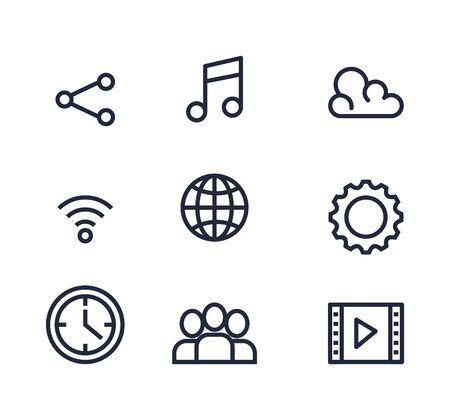 set of social digital media app technology vector illustration