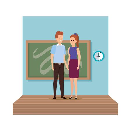 young teachers couple with chalkboard in classroom scene vector illustration design Illustration