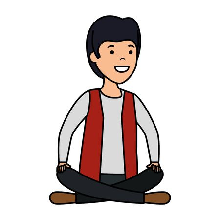 young and casual man with lotus position vector illustration design Foto de archivo - 124887930
