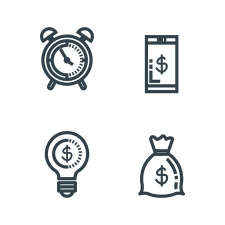 set smartphone with money bag and clock vector illustration