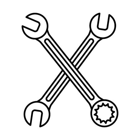 wrench keys tools crossed vector illustration design