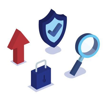 set of shield security with magnifying glass and padlock vector illustration 일러스트