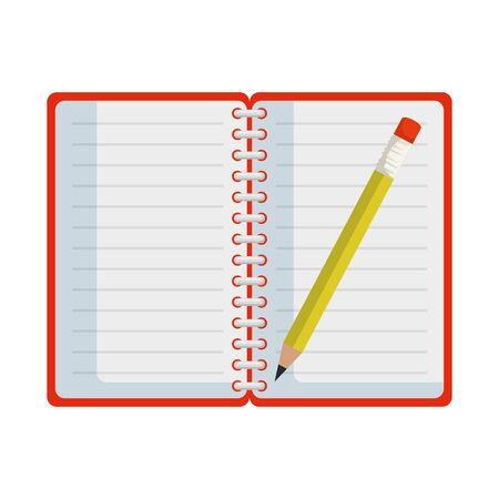 notepad office with pencil vector illustration design