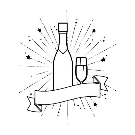 champagne bottle with cup vector illustration design Stock Vector - 124887982