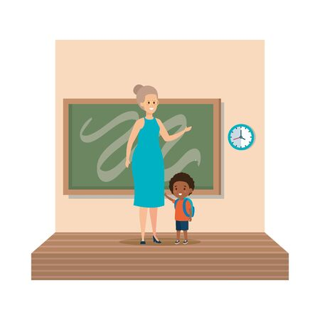 young teacher female with schoolboy classroom scene vector illustration design Illustration