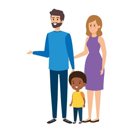 interracial parents couple with son characters vector illustration design Stock Vector - 124805407