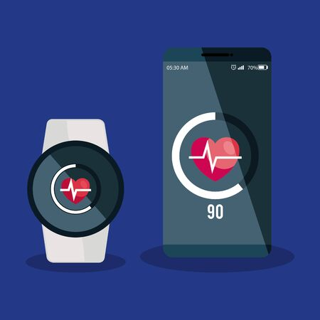 smartphone and smartwatch technology with heartbeat app data vector illustration Illustration