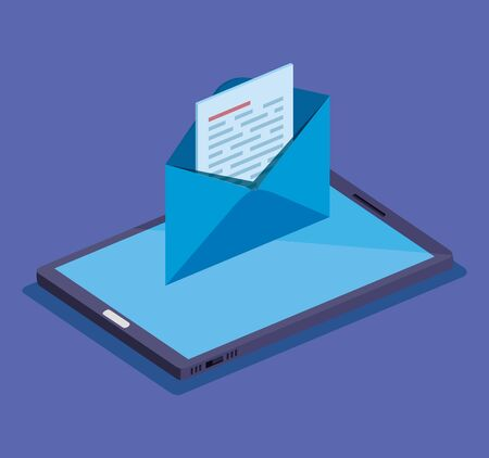 smartphone technology with letter and document information vector illustration