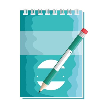 paper notepad with pencil writing vector illustration design