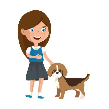 süßes kleines Mädchen mit Welpenvektorillustrationsdesign Vektorgrafik
