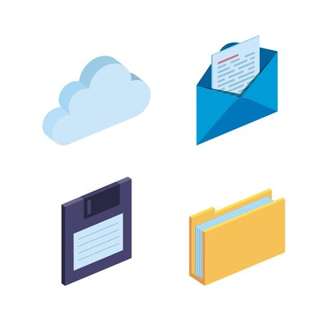 set of cloud data and diskette with documents information vector illustration 일러스트
