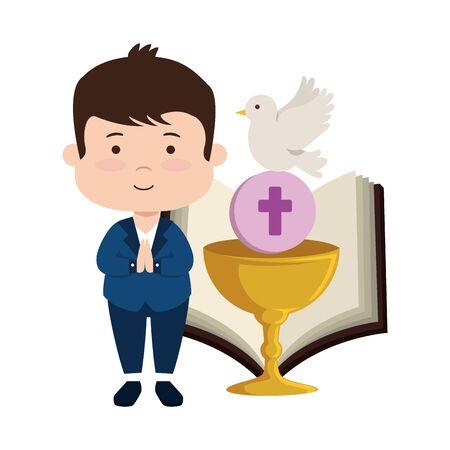 little boy with bible and chalice first communion vector illustration design Ilustração