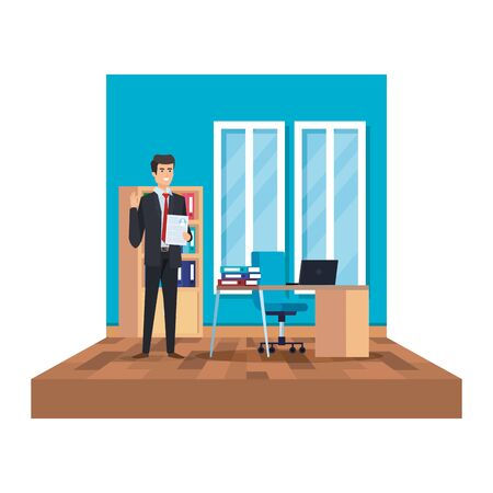 elegant businessman with document in the office vector illustration design