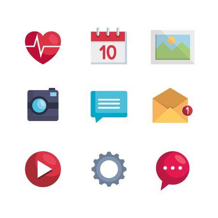 set of digital app media digital technology vector illustration Banque d'images - 124893045