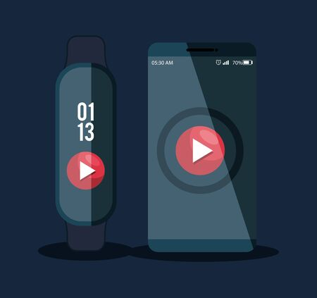 smartphone and smartwatch technology with video app vector illustration