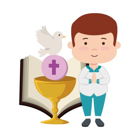 little boy with bible and chalice first communion vector illustration design Imagens - 124895191