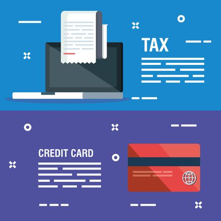 set laptop with report invoice and credit card vector illustration