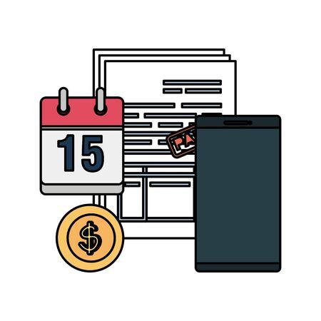 tax documents with calendar and smartphone vector illustartion design Reklamní fotografie - 124895374
