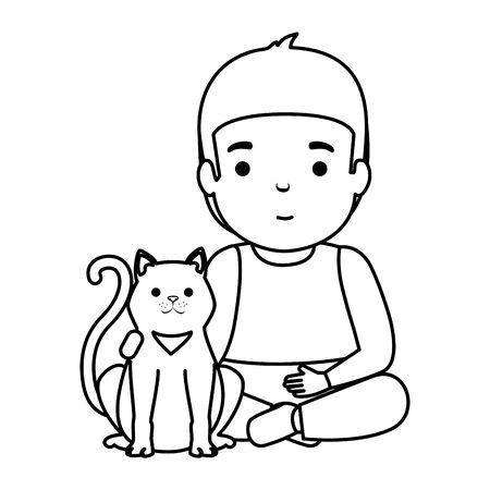 cute little boy with kitty vector illustration design 일러스트