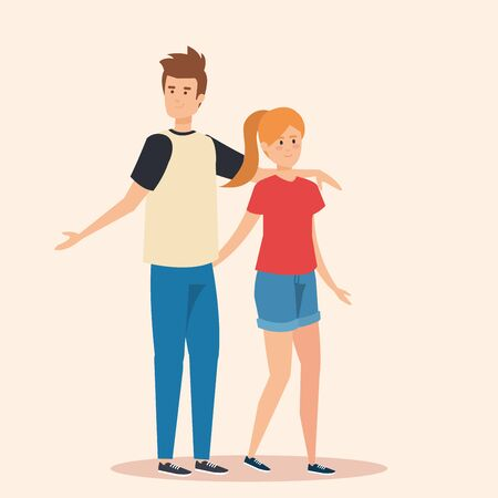 boy and pretty girl couple with casual clothes vector illustration